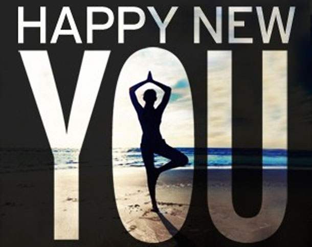 Yoga pose for a happy new you.